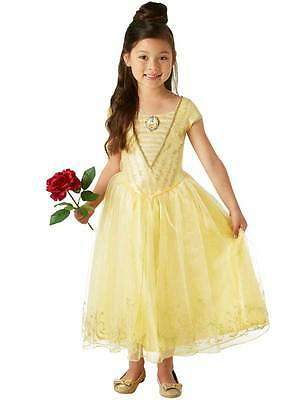 Deluxe Live Action Belle Girls Fancy Dress Disney Princess Beauty Childs Costume