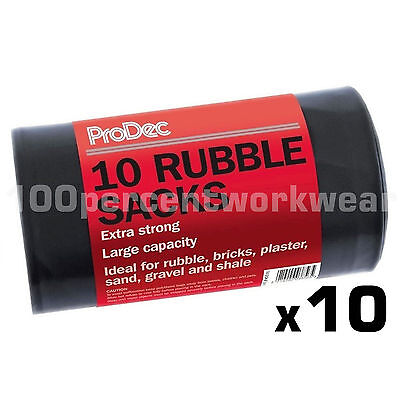 10 x Rolls of 10 Heavy Duty Black Bags Rubble Sacks Builders Gardening Waste New