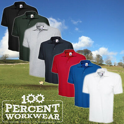5x Uneek Premium Quality Mens Work Wear Polo Shirt Short Sleeve 50/50 Polycotton