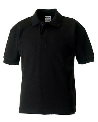 Size 7-8 Yr Russell Jerzees 539B BLACK Polycotton Short Sleeved Pique Polo Shirt