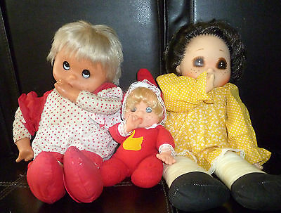 """Vintage 3 Dolls Lot  Thumb Sucking Baby Doll  Size Tallest Doll 18"""" Tall"""