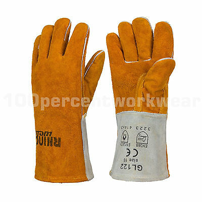 RHINOweld Heavy Duty Kevlar Stitch Welders Leather Welding Gauntlet Work Gloves