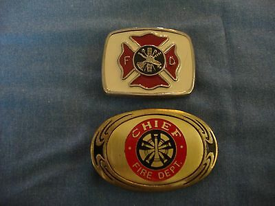 2 Fire Department Belt Buckles - Chief & Maltese Cross