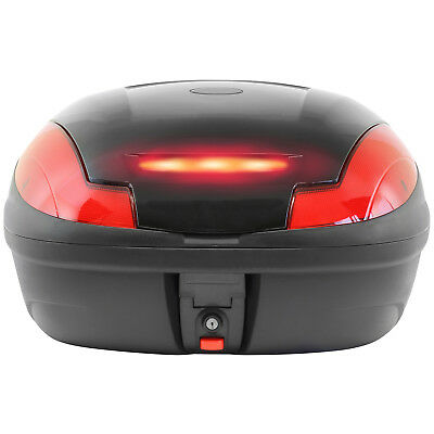 Ryde Gloss Black 48L Motorcycle Top Box With Led Light Motorbike/bike Carrier