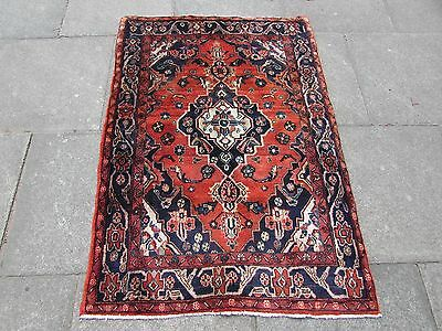 Old Traditional Persian Rug Oriental Hand Made Wool Red Small Rug 145x98cm