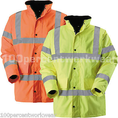 Blackrock High Visibility Yellow Orange Work Jacket Coat Parka Padded Hi Viz Vis