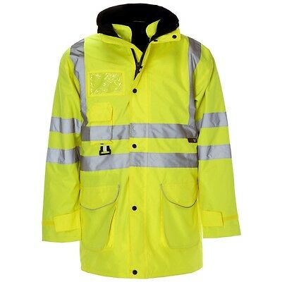 Supertouch Yellow 5 in 1 Hi High Vis Visibility Waterproof Parka Jacket Coat New