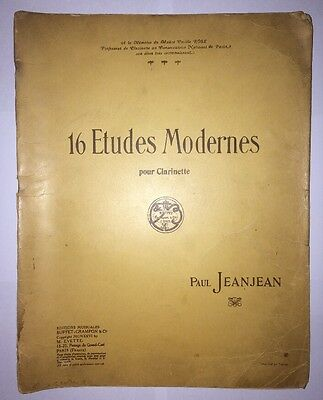 Paul Jeanjean 16 Etudes Modernes for Clarinet Vintage printed in France 1926