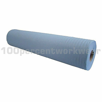"12 x Rolls 20"" Blue Paper Hygiene Cover Multi Wipe 2 Ply 47.5m Beauty Salon Bed"
