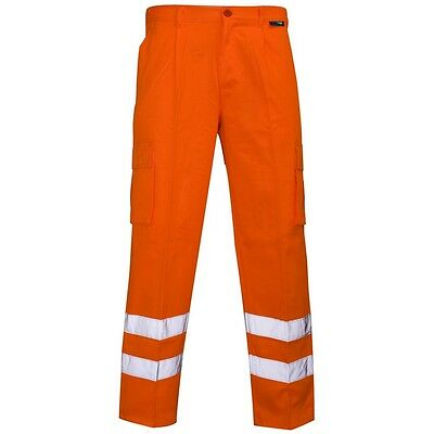 Supertouch Orange Hi Vis Visibility Mens Polycotton Combat Work Trousers Pants