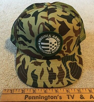 VINTAGE VIRGINIA ARMY NATIONAL GUARD  Flag Eagle Camo HUNTING Mesh Trucker HAT