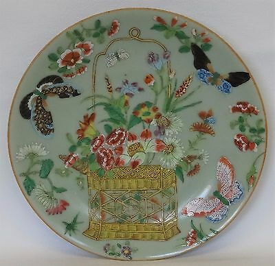 19thC CHINESE Celadon Canton Famille Rose PLATE Square Basket of Flowers SIGNED