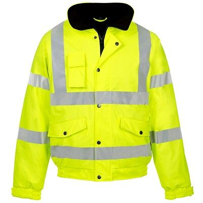 Supertouch Storm Flex Yellow High Visibility PU Waterproof Bomber Jacket Coat