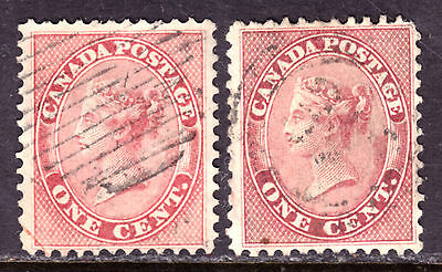 CANADA #14-14b 1c ROSE & DEEP ROSE, 1859 FIRST CENTS SET/2, F, USED