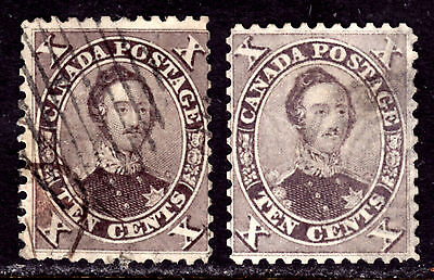 CANADA #17a,17b 10c VIOLET & BROWN, 1859 FIRST CENTS LOT/2, VG-F, USED