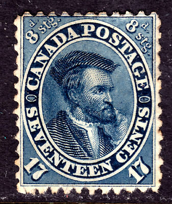 CANADA #19 17c BLUE, 1859 FIRST CENTS, F, UNUSED WITH NO GUM