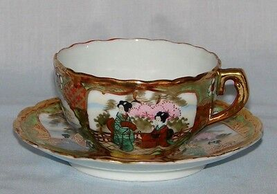 Antique I E & Co Japan CUP & SAUCER Fine Porcelain-Traditional Japanese Scenes