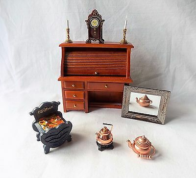 2 Hickleton Dolls House Furniture Roll Top Bureau & Mirror,clock,fire + 1:12.