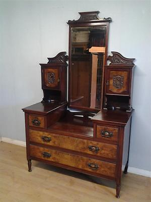 Edwardian walnut and burr walnut dressing table dresser chest