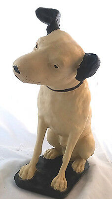 1930s RCA Victor Large Nipper Dog Chalkware Statue Advertising Radio Phonograph
