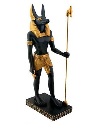 "8"" Ancient Egyptian Mythology Deity Anubis God of Afterlife Figurine Black Gold"