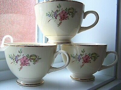 3 Home Institute Homer Laughlin Priscilla tea Cup Floral Gold Household