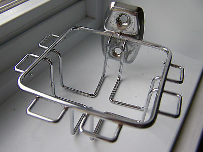 VINTAGE CHROME TOOTHBRUSH and TUMBLER HOLDER Wall Mount