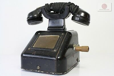 Antique Telephone iron + bakelite Deutsche Reichsbahn DR Railroad Crank ca 3,5kg