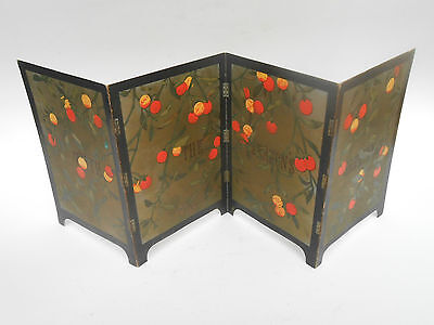 Victorian ORIENTAL FRUIT 4 Fold Screen WITH THE SEASONS GREETINGS Christmas Card