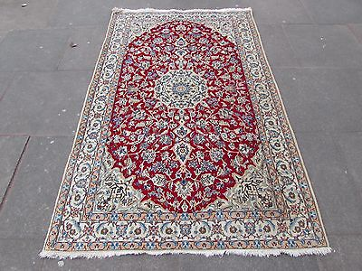 Fine Old Traditional Hand Made Persian Rug Wool Silk Red Cream Rug 206x129cm