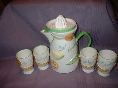 Vtg Napcoware Good Morning Orange Juice Pitcher  & 4 Glasses Set ~ C-5352~ Vgc