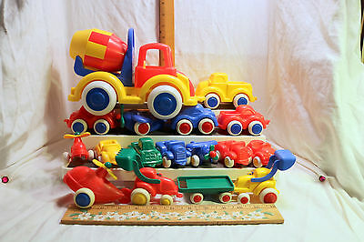 Vintage Sweden Viking Toy Plastic Cars Trucks Train Lot of 17~Mixed Sizes