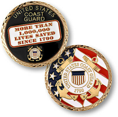 1,000,000 Lives Saved USCG brass enameled Coast Guard challenge coin