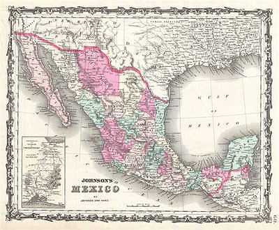 1863 Johnson Map of Mexico and Texas
