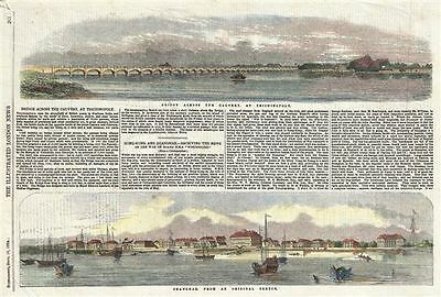 1854 London Illustrated News View of the Bund, Shanghai, China /w Cauvery River,