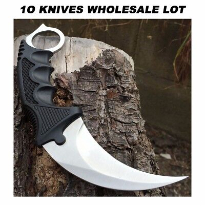 10PC TACTICAL COMBAT KARAMBIT NECK KNIFE Hunting BOWIE Fixed Blade WHOLESALE LOT