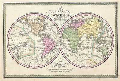 1849 Mitchell Map of the World in Hemispheres