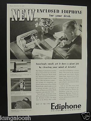 1938 Enclosed Ediphone Edison Voicewriter For Your Desk Vintage Photo Ad