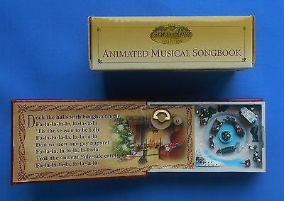 """2006 Animated Music Box """"Deck the Halls""""  Gold Label Figures rotate around tree"""
