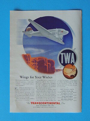 1940 Wings For Your Wishes-Twa Art Ad