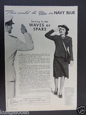 1943 This Could Be You In Navy Blue,waves Or Spars-Libbey Glass Co-War Effort Ad