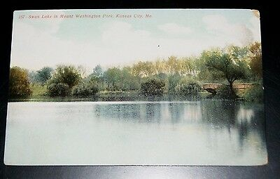 03- UNS  Old Postcard Swan Lake Mount Washington Park Kansas city Montana