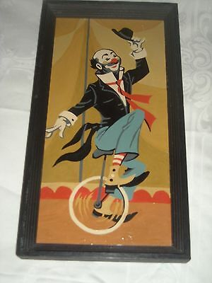 (11) Vintage Paint By Number Clown On Monocycle Painting 7 By 13 Wood Frame