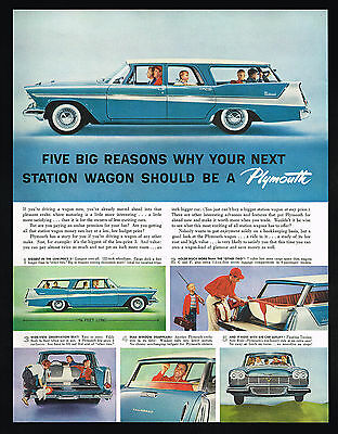 1958 Plymouth Station Wagon 6 Photo Vintage Color Car Print Ad