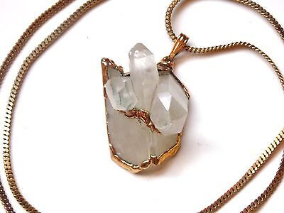 Vintage~3 Prism~Natural~Quartz~White~Gold~Trim~Outlined~Pendant~Chain~Necklace
