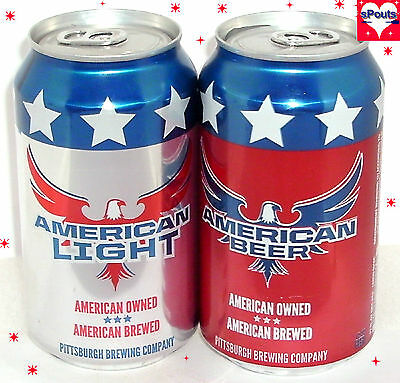American Silver Light+Red Beer Can Set Latrobe,pennsylvania New Patriotic Labels