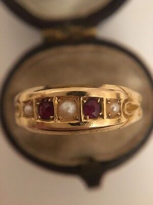 Antique Victorian Unusual Yellow Gold Pearl And Ruby Pretty Ornate Ring