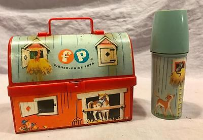 Vintage Fisher Price 1960S Toy Barn Lunchbox With Thermos #549 Lunch Box
