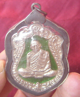 "Pendant famous monk tablet bronze""Lung Poo Tim"" Wat Rahanrai Temple BE 2518"
