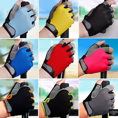 Non-Slip Breathable Bike Gloves Mens Women's Bicycle Cycling Half Finger Mitten
